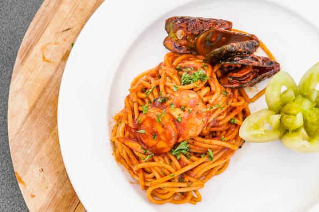 Flat lay shot of seafood spaghetti dish