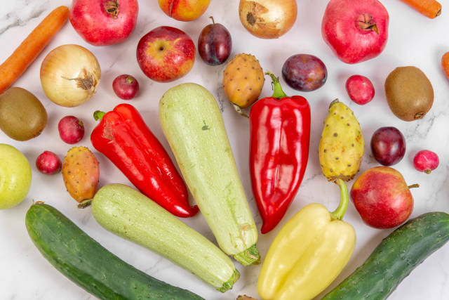 Top view of fresh and healthy fruits and vegetables