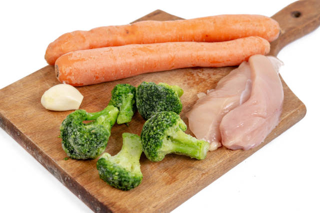 Chicken breasts with Vegetables prepared for cooking