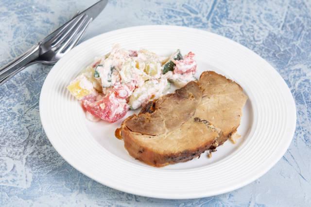 Baked Pork Chop with Serbian Sopska Salad