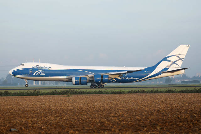 AirBridgeCargo Boeing taking off from Amsterdam Airport
