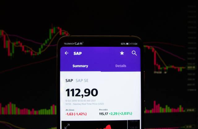 A smartphone displays the SAP market value