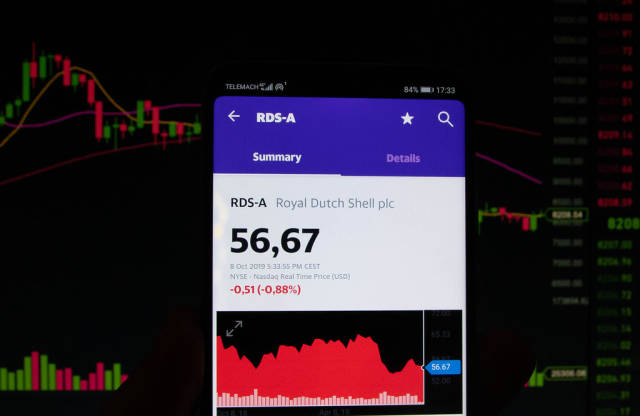 A smartphone displays the Royal Dutch Shell plc market value