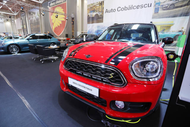 Mini Countryman charging at chargng station, Bucharest Auto Show SAB 2019