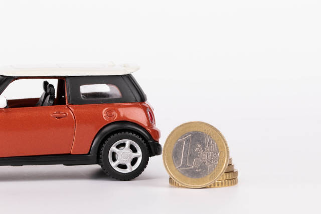 Car with one Euro coin