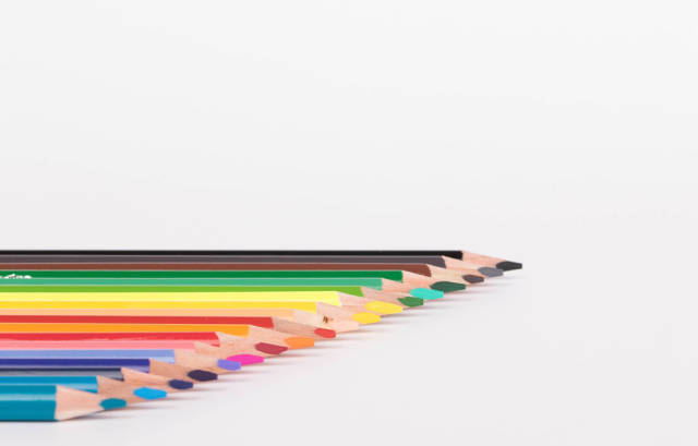 Color palette made from colorful pencils