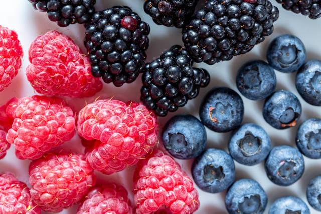 Fresh blueberries, raspberries and mulberries