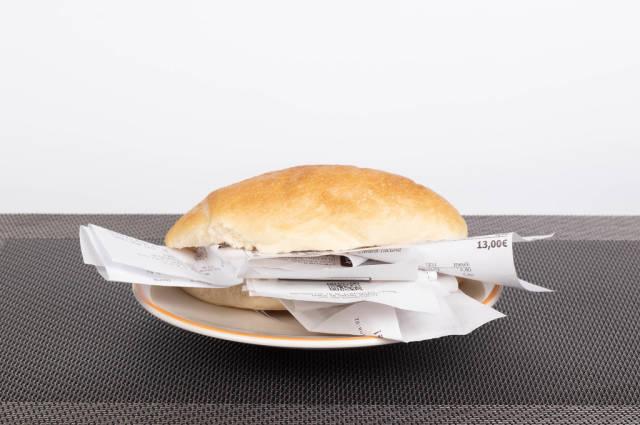 Bread roll full of receipts