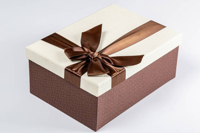 Gift box with ribbon and bow. Holiday concept, surprise
