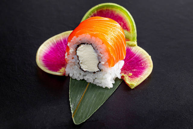 Closeup of a sushi roll Philadelphia with salmon