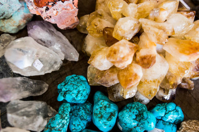 Top view of turquoise and quartz