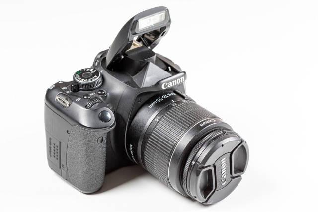 Black camera on a white background