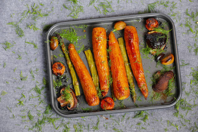Grilled vegetables in a pan