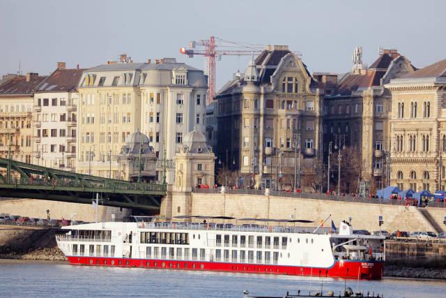 Ship sailing on Danube river, Budapest, Hugary