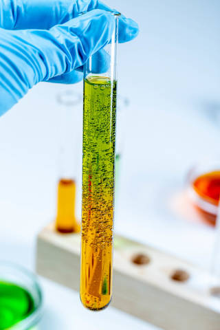 Mixing two reagents in a test tube