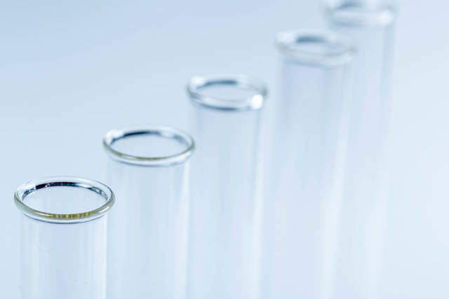 Glass test tubes close-up. The concept of research