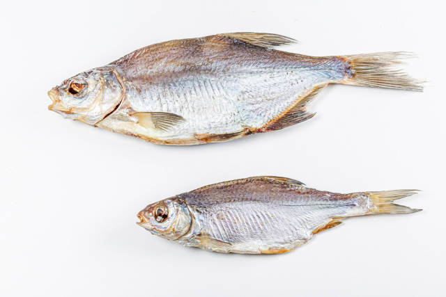Two dried fish on a white background, top view