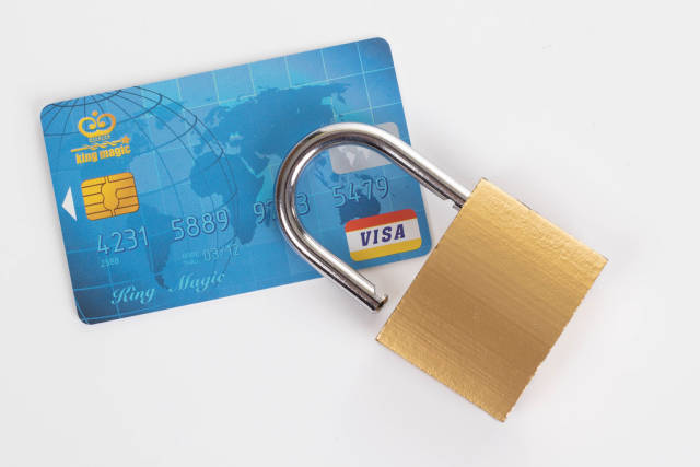 Credit card and padlock on white background