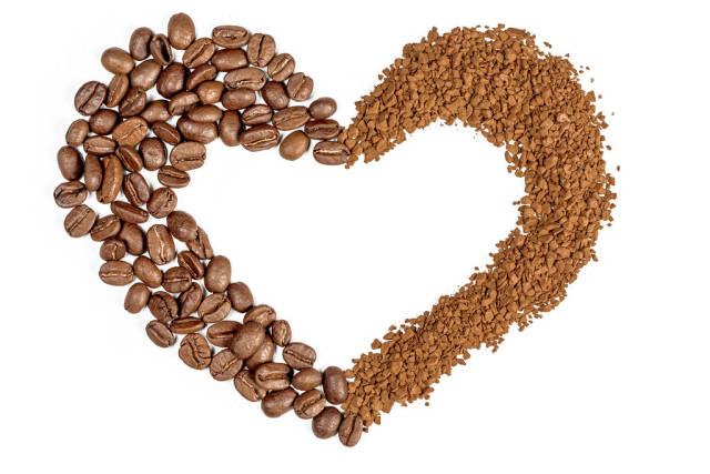 Heart-shaped coffee frame, top view