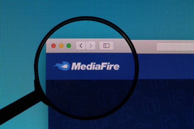 MediaFire logo under magnifying glass