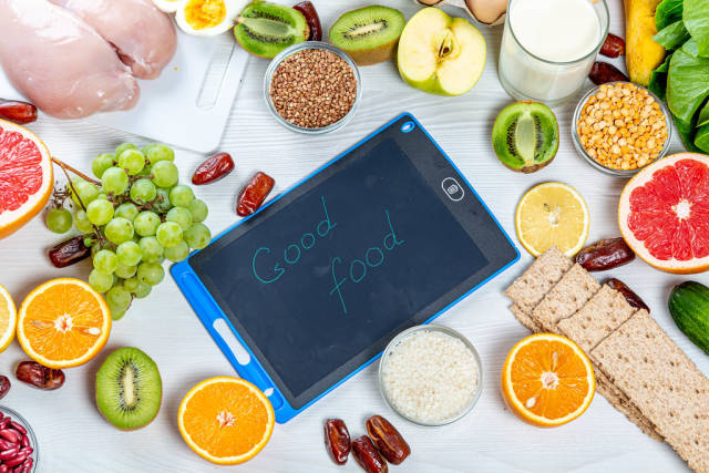 Healthy foods for a healthy diet with inscription - Good food