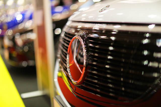 Mercedes Benz EQC, close-up view of logo