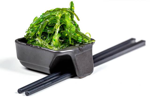 Hiyashi Wakame Chuka or seaweed salad, japanese food concept