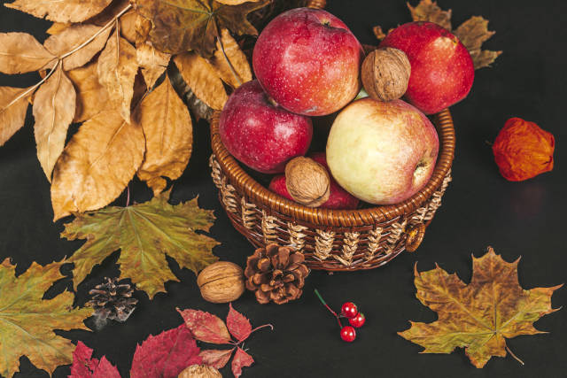 Thanksgiving autumn background with autumn leaves, nuts and apples