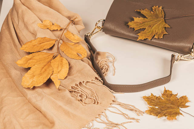 Womens scarf and handbag with autumn yellow leaves
