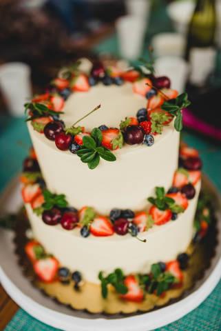 Layered Cheese Cake With Strawberries, Bluberries And Cheries