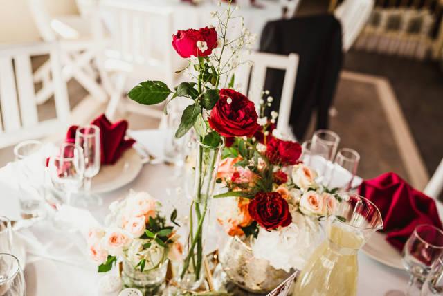 Close Up Re Roses Wedding Decor