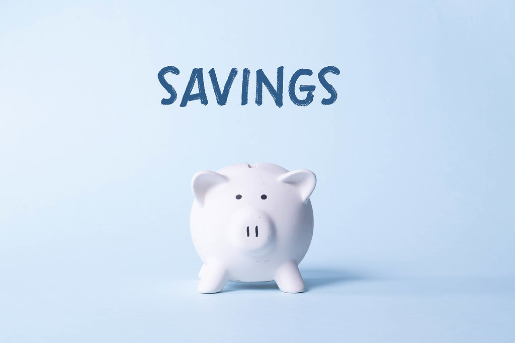 Piggy bank with Savings text on light blue background