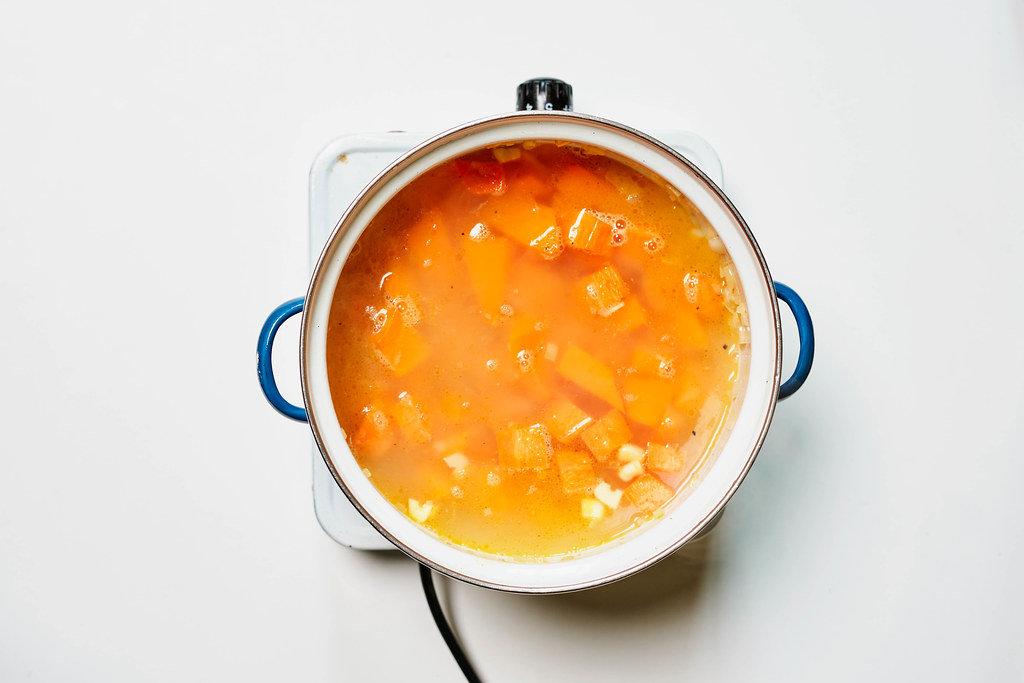 Cooking pumpkin soup with fresh pumpkin