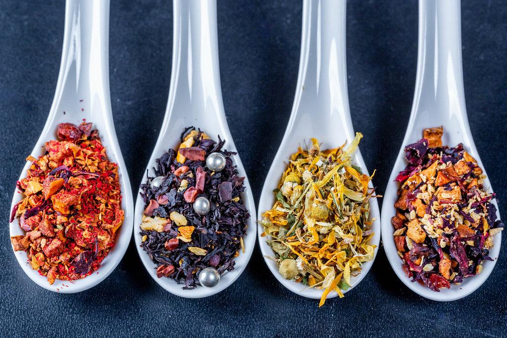 Hot pepper tea, chamomile tea and dried fruit teas