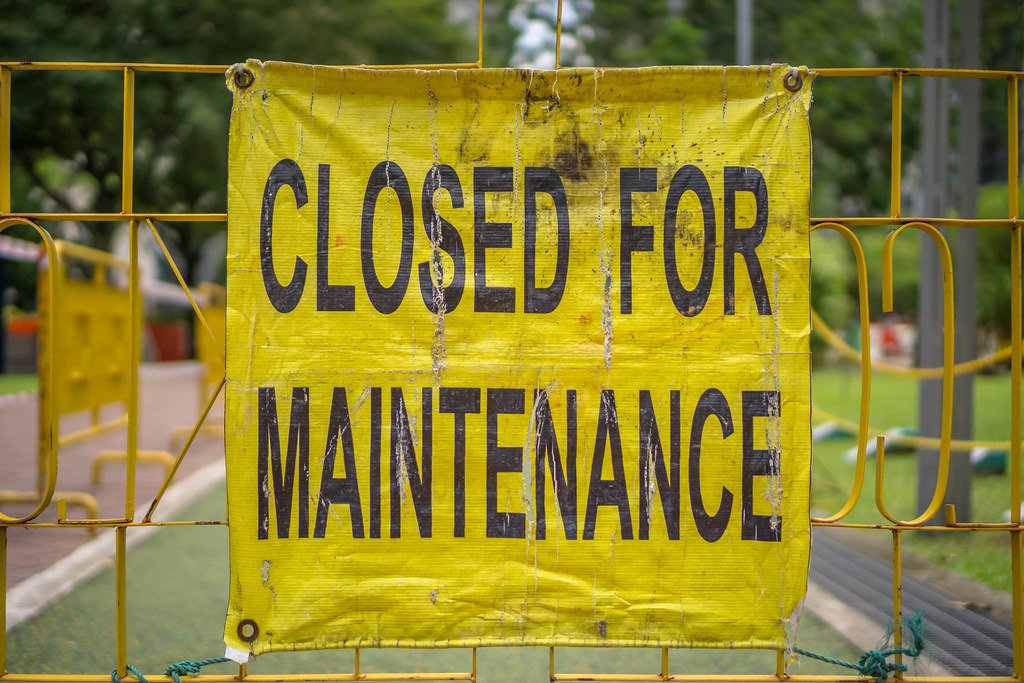 Closed for Maintenance Sign in KLCC Park in Kuala Lumpur