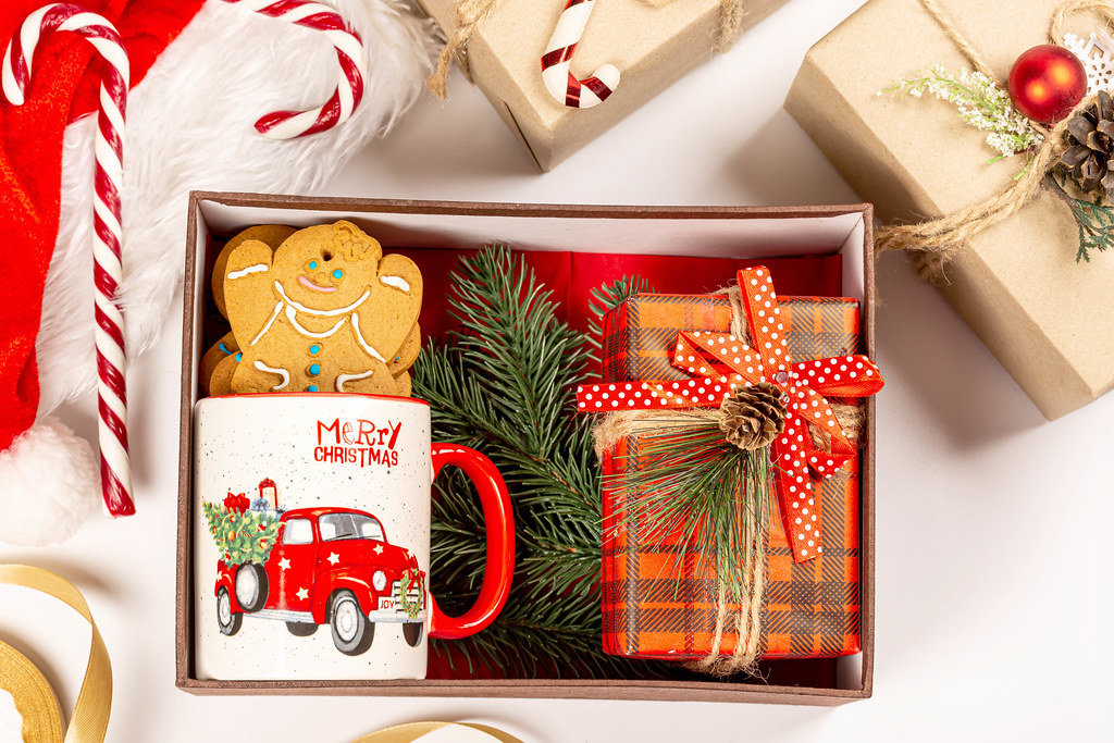 Top view, open box with gifts for christmas or new year