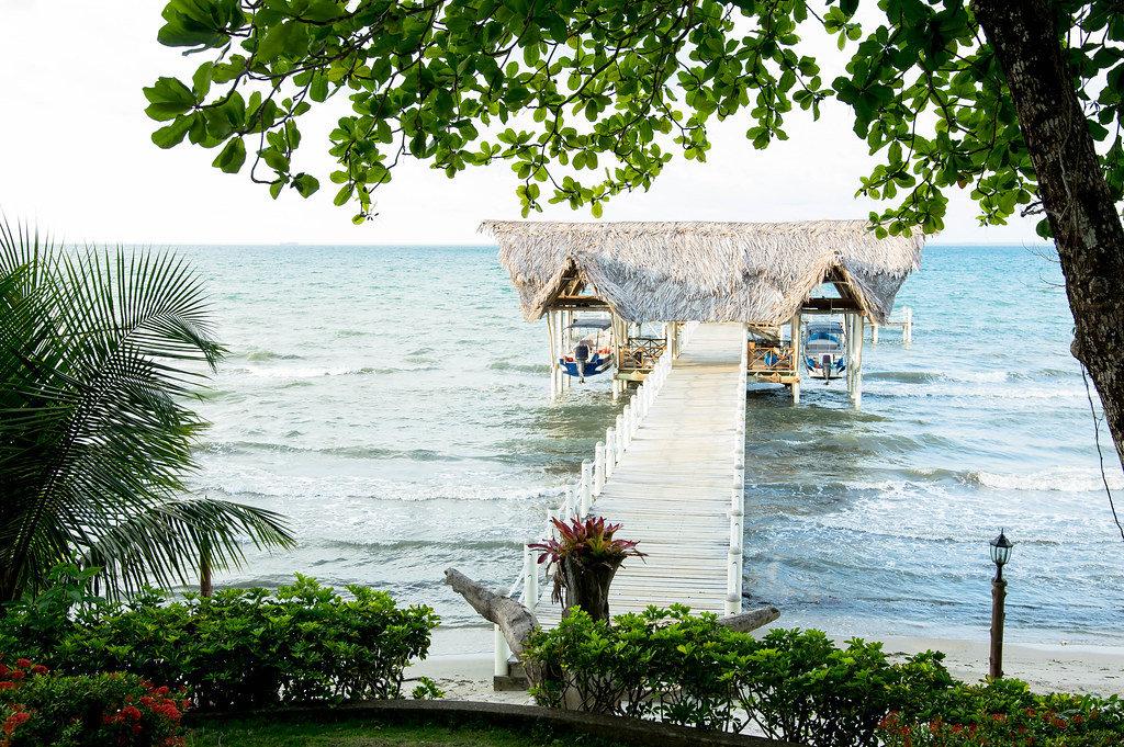 Wunderschöner Bootssteg mit Palmendach in Puerto Barrios