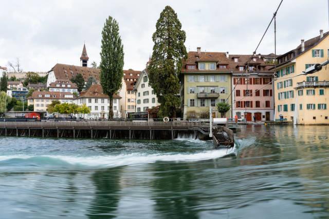 Flow on Reuss river in downtown Lucerne, Switzerland