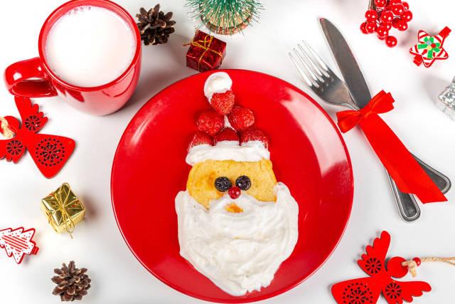 Santa pancake for kids breakfast - Christmas food concept