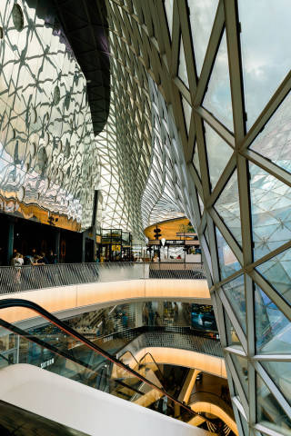 Top floor of modern My Zeil shopping mall with parametric ceiling