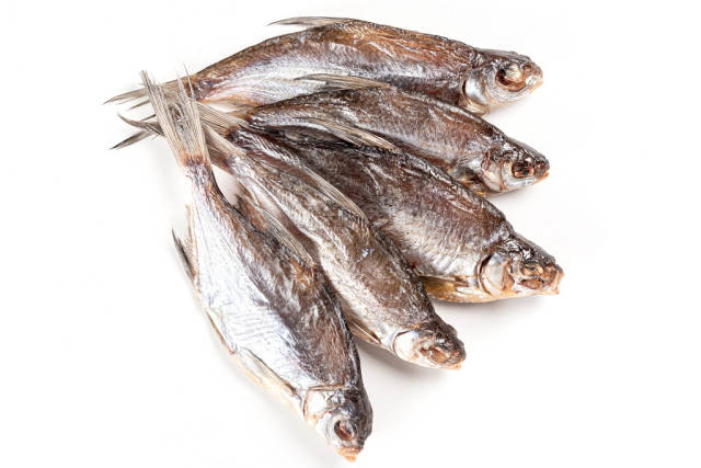 Dried salted roach fish, top view