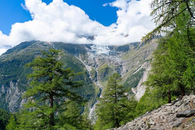 Melting Alp glacier on the Swiss mountain peak Weisshorn