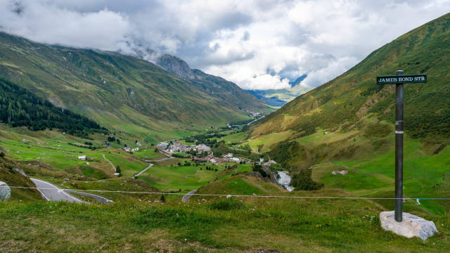 James Bond Street in Switzerland with a view of green valley and small village