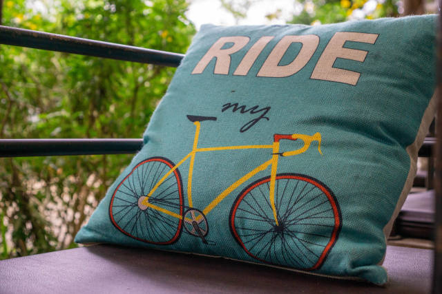 Close Up of Pillow with Words Ride my and a Road Bike Print