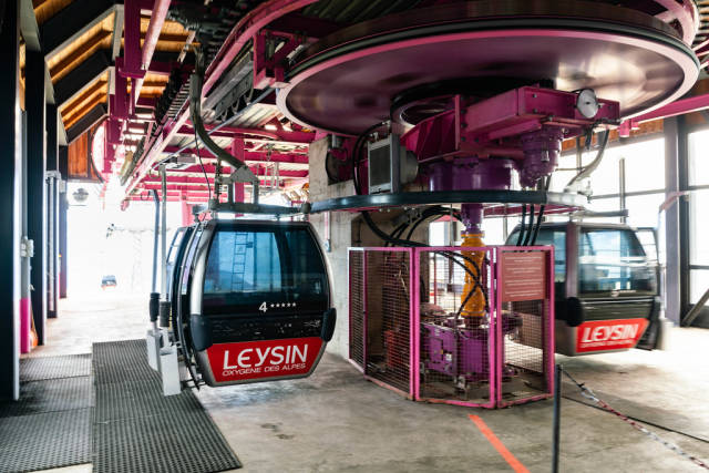 Cable car station at the Leysin municipality in Swiss Alps