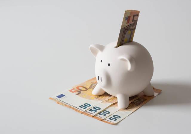 Piggy bank with 50 euros
