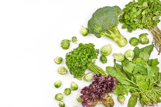 Healthy detox leafy greens background