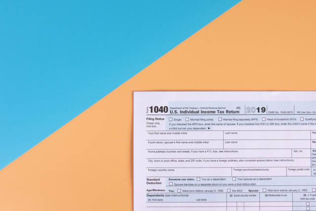 USA tax form 1040 for US individual tax return