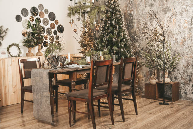 Beautifully served dining table in the new years interior