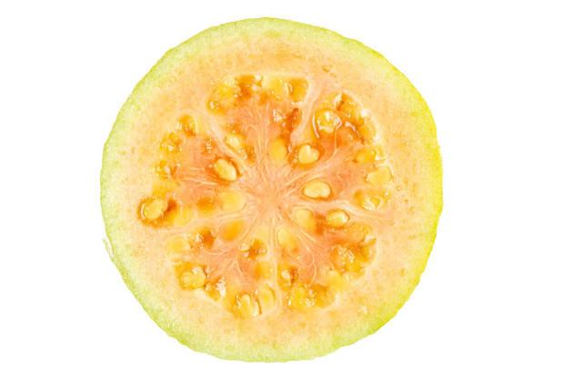 Top view, half of juicy guava fruit